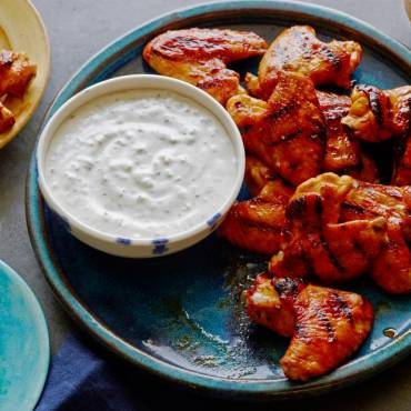Chicken Wings with Red Hot Honey Glaze and Blue Cheese-Celery Dipping Sauce
